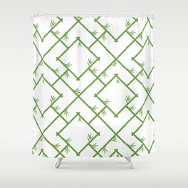 Bamboo Chinoiserie Lattice in White + Green Shower Curtain