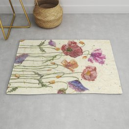 Watercolor Poppy Painting, Rug
