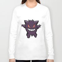 gengar Long Sleeve T-shirts featuring Gengar The Ghost - First Generation Pocket Monsters Design Cartoon by Jorden Tually Art