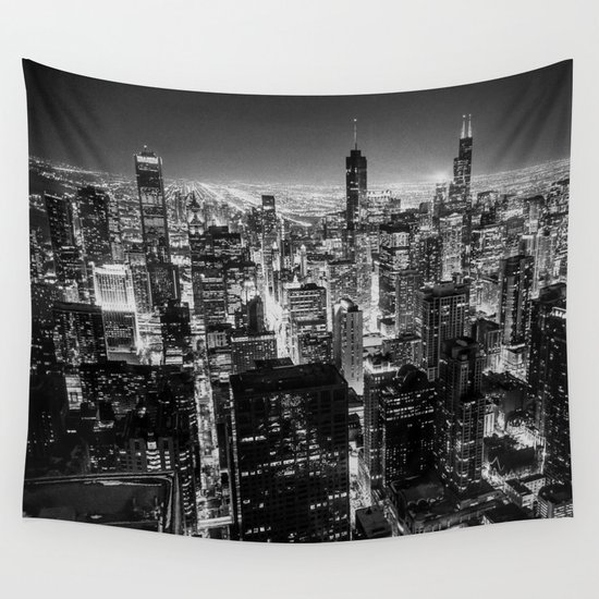 Chicago Skyline Wall Art nighttime chicago skyline wall tapestrylena mirisola   society6