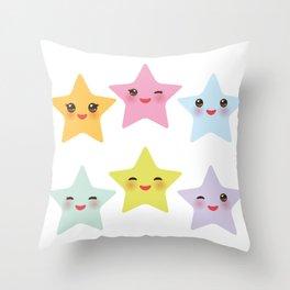 Kawaii stars, face with eyes, pink green blue purple yellow Throw Pillow