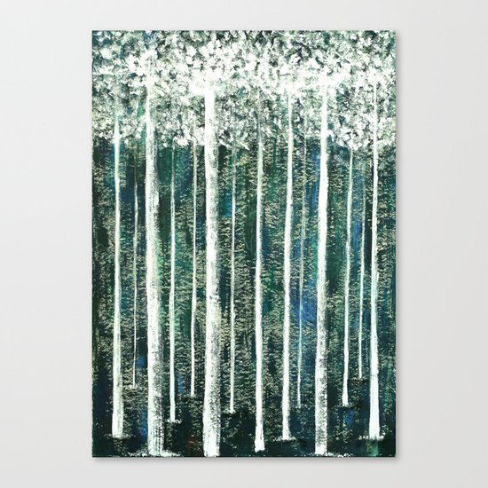 Hand Painted Green Christmas Jungle Canvas Print
