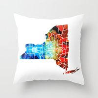yankees Throw Pillows featuring New York - Map By Sharon Cummings by Sharon Cummings