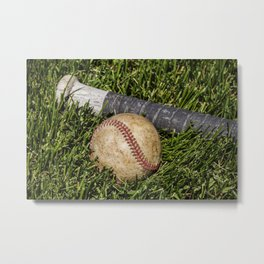 Baseball and Bat on Grass 1 Metal Print