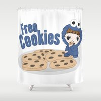 cookies Shower Curtains featuring Free Cookies by Lily