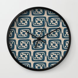 Mid Century Modern Galaxy Pattern Peacock Blue and Beige Wall Clock
