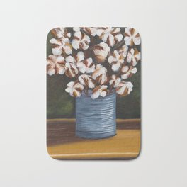 Bouquet of cotton in tin can Bath Mat