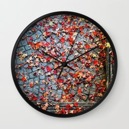 Red Leave, Gray Stones Wall Clock
