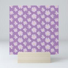 Yellow and Purple Daisy Flower Pattern Mini Art Print