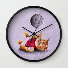 Baby Cat Playing with Moon Wall Clock
