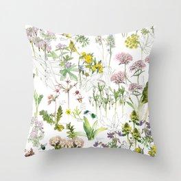 Spring Prairie Flowers Throw Pillow