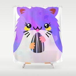 Kawaii Eating Hamster Shower Curtain