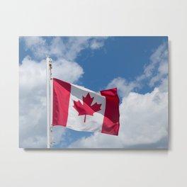 Sun, Clouds and Canadian Flag Metal Print