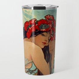 1896 SUMMER - 4 Seasons Alphonse Mucha Art Nouveau Goddess Vintage Lithograph French Travel Mug