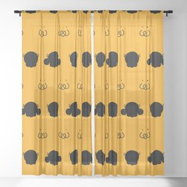 Smilo in three forms in flat shadow shape Sheer Curtain