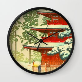 Vintage Japanese Woodblock Print Japanese Shinto Shrine Red Pagoda With Snow Capped Trees Wall Clock