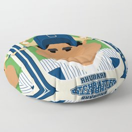 Baseball Blue Pinstripes - Rhubarb Pitchbatter - Seba version Floor Pillow