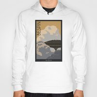 travel poster Hoodies featuring Bespin Travel Poster by Tawd86