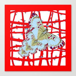 RED-WHITE MOTHS  IN SYNCHRONIZED FLIGHT Canvas Print