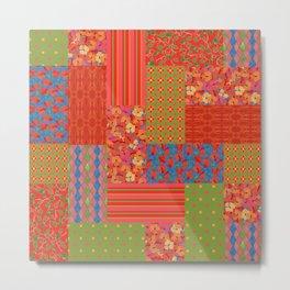 Poppy Fields Faux Patchwork Metal Print