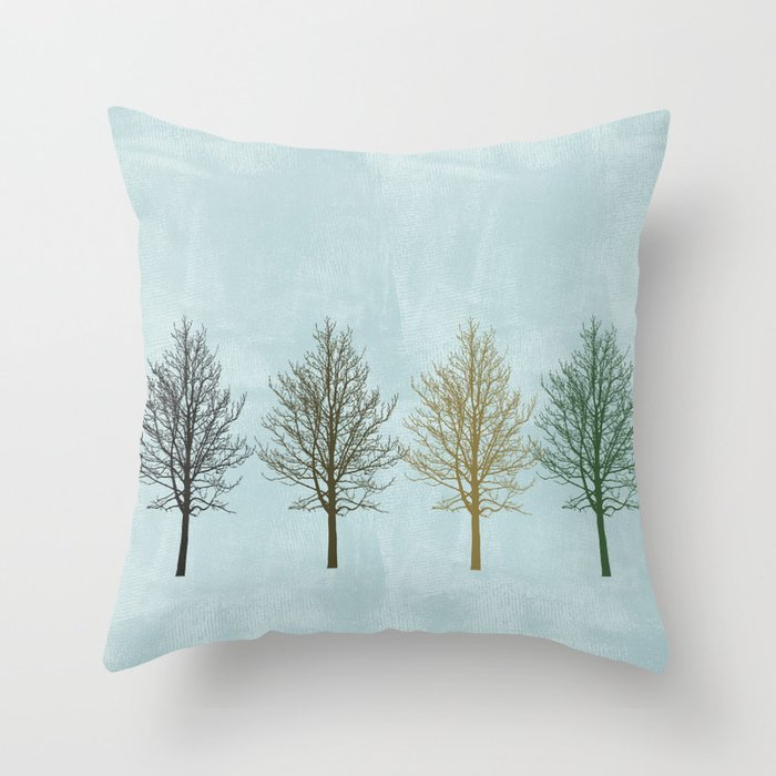 Four Colors Trees Throw Pillow