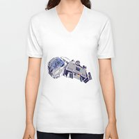 transformers V-neck T-shirts featuring Transformers - Megatron by Evan DeCiren