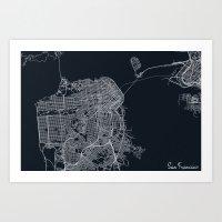san francisco map Art Prints featuring San Francisco Map by chiams