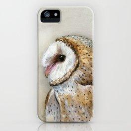 Barn Owl Watercolor, Birds Of Prey Wild Animals Owls iPhone Case