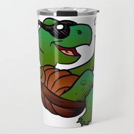 Cartoon Turtle Drinking Cocktail. Travel Mug