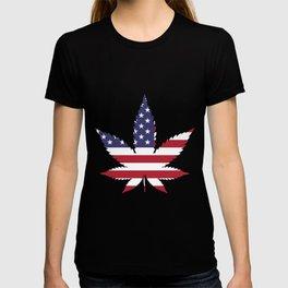 Cannabis in American Flag T-shirt