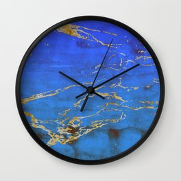 Sky Blue Marble With 24-Karat Gold Nugget Veins Wall Clock