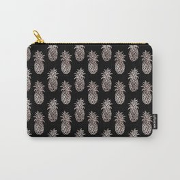 Rose Gold Sparkle effect Pineapple on black by Magenta Rose Designs Carry-All Pouch