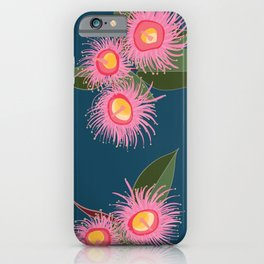 Pink Flowering Gum Australian Native Flora Corymbia Ficifolia Floral on Navy Background iPhone Case