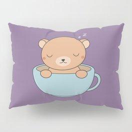 Kawaii Cute Coffee Brown Bear Pillow Sham