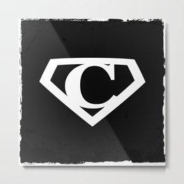 White Letter C Symbol Metal Print