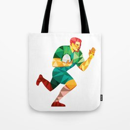 Rugby Player Fend Off Low Polygon Tote Bag