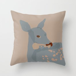 Grey Deer Throw Pillow