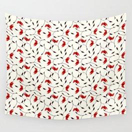 Strange Red Flowers Pattern Wall Tapestry