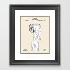 Toilet Paper Roll Patent - Colour Framed Art Print
