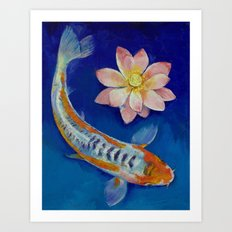 Koi Fish and Lotus Art Print