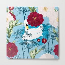 Swan Pond #illustration #pattern Metal Print