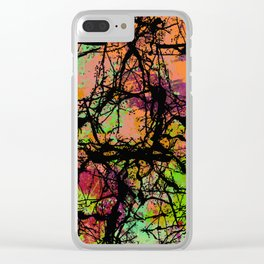Cracks And Colour - Pastel orange, blue and green abstract with black marble effect Clear iPhone Case
