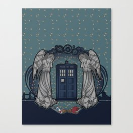 Art Nouveau Weeping Angels and the TARDIS Canvas Print