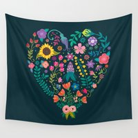 agnes Wall Tapestries featuring Floral Heart by Anna Deegan
