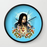 lindsay lohan Wall Clocks featuring Our Lindsay of Trashbaggery by Jessica Dudfield