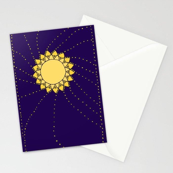 Celestial Swirling Sun Boho Mandala Hand-drawn Illustration Stationery Cards