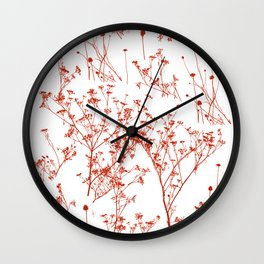 Sun Faded Red Wildflowers Silhouettes on White Wall Clock
