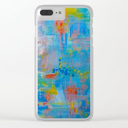 Colorful Abstract Wall Art, Vibrant colors, Contemporary home decor Clear iPhone Case