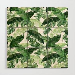 Green leaf watercolor pattern Wood Wall Art