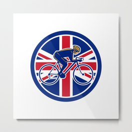 British Cyclist Cycling Union Jack Flag Icon Metal Print
